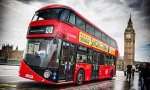 New Bus for London on a trial run past Big Ben