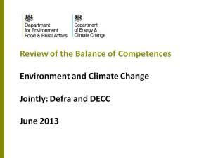 "Defra / DECC ""Balance of Competencies"" Presentation"