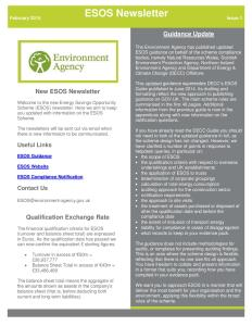 Environment Agency's ESOS Newsletter Issue 1