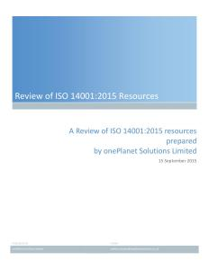 Review of ISO 14001:2015 Resources A report on the current state of ISO 14001:2015 resources