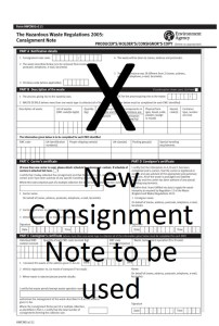New Consignment Note format and Codes to replace the existing version