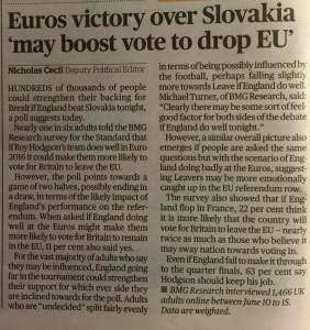 """Evening Standard article: Euros victory over Slovakia """"may boost vote to drop EU"""" published on 20 June 2016"""