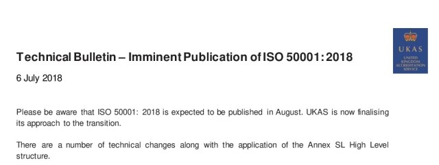 UKAS Technical Bulletin ISO 50001:2018