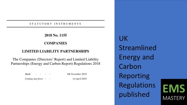 UK Streamlined Energy and Carbon Reporting Regulations published