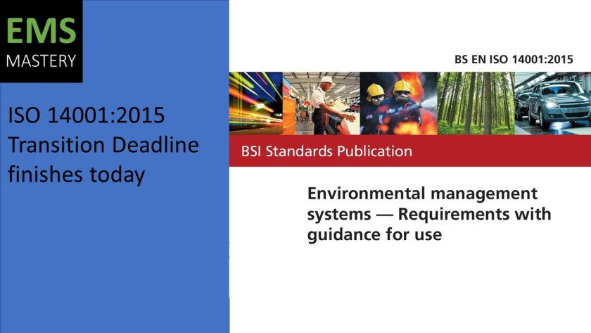 ISO 14001:2015 Transition Deadline finishes today