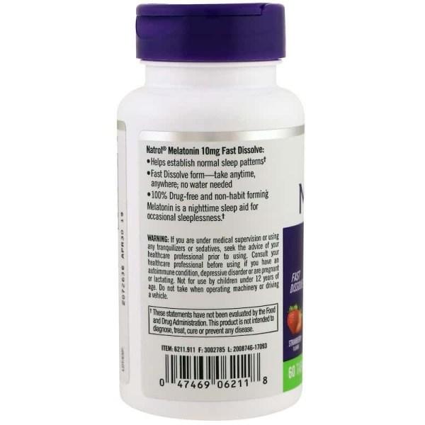 Melatonina 10mg Fast Dissolve Natrol 60 comprimidos
