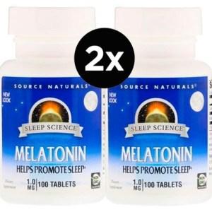 2X Melatonina 1 mg Source Naturals 100 Comprimidos