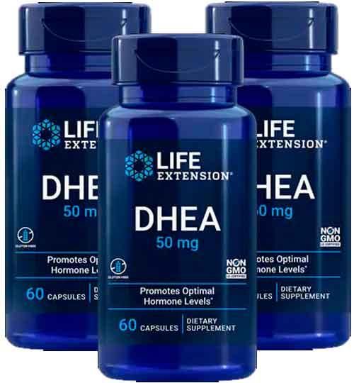 Dhea 50 mg Life Extension, 60 capsulas – 2 Frascos