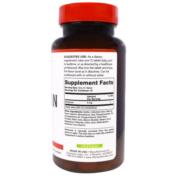Melatonina Olympian Labs 5mg, 60 Tablets Rápida Dissolução