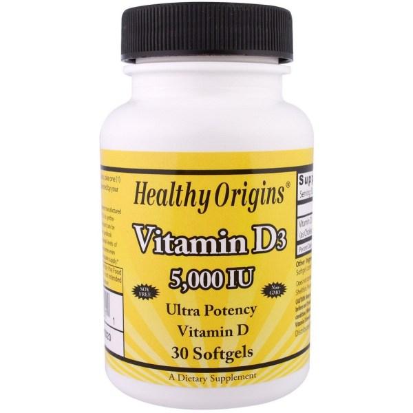 2x Vitamina D3, 5.000 IU, 30 Softgels – Healthy Origins (TOTAL DE 60 CÁPSULAS)