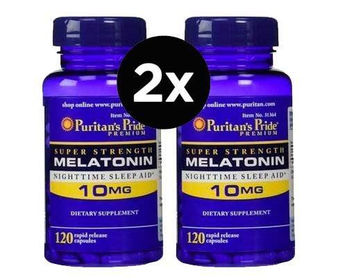 2X Melatonina 10mg, Puritans Pride (Força Extra) 120 Cápsulas