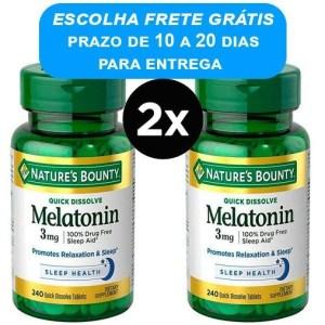 2X Melatonina 3mg Rápida Dissolução, Nature's Bounty - 240 comprimidos