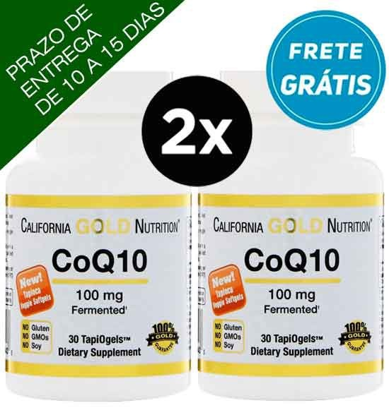 2X CoQ10 (Coenzima Q10) 100mg California Gold Nutrition, 30 Cápsulas vegetarianas