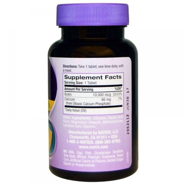 Biotina 10,000 mcg força máxima – Natrol – 100 Tabletes