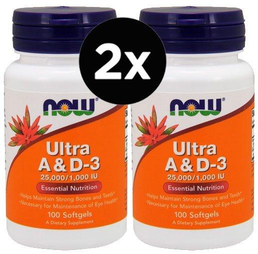 2X Vitaminas Ultra A e D3 100 Cápsulas – Now Foods