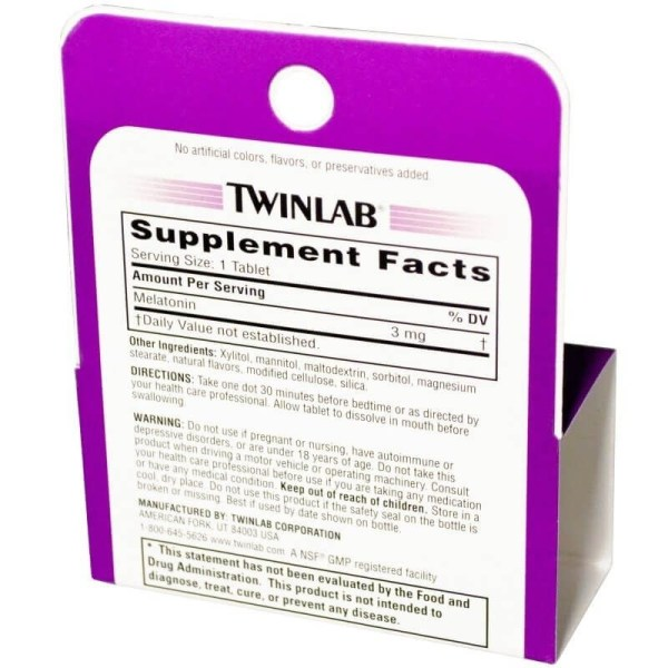 Melatonina 3mg Twinlab Dissolução Rápida 60 comprimidos