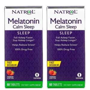 Melatonina Natrol 6mg Calm Sleep + Anti-stress – 60 comprimidos sabor Morango – Leve 1 Frasco