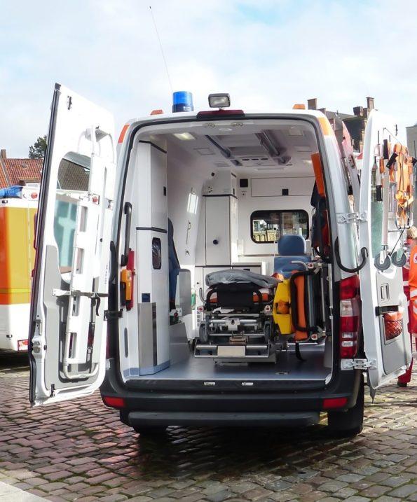 EMT Courses Back of Open Ambulance