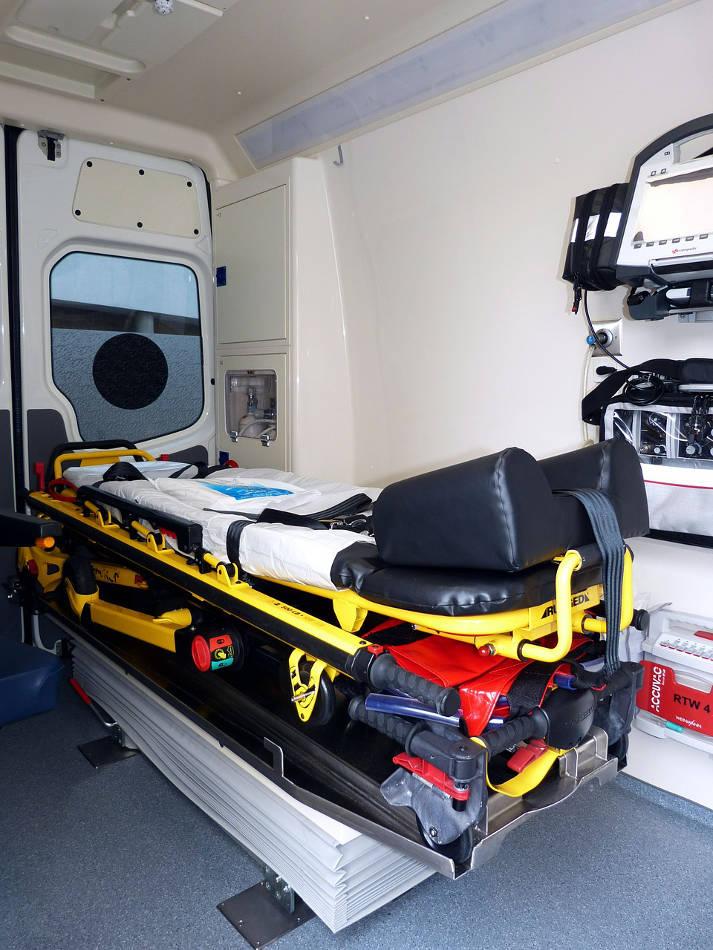 EMT gurney in ambulance