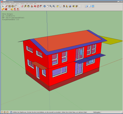 The volume created with the standard SketchUp modelling tools is transformed into a thermal block with DesignPH: the remaining step to take is to model the surrounding building and terrain.
