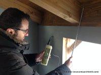 Christian Guida - checking infiltration at roof beams - 0 here, fantastic!