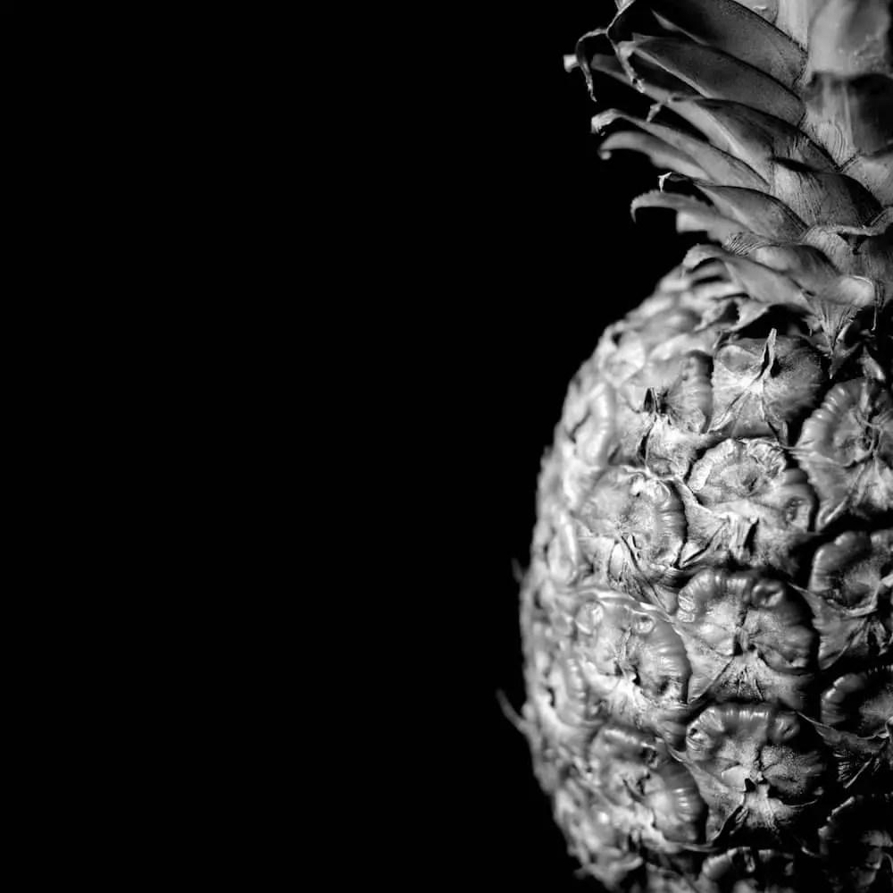 Pineapple: Mamiya C330s, 80mm/f4 at 1/30s on Ilford HP5 at 400ASA
