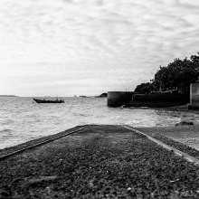 Slipway - Ilford FP4+ shot at ISO800. Black and white negative film in 120 format shot as 6x6. #21 Orange filter, 2+2/3 stop push process