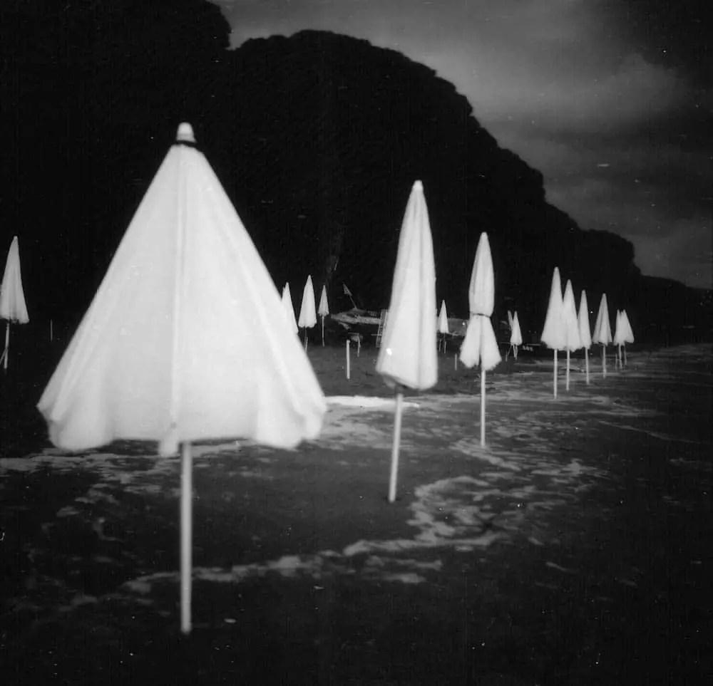 Sea Umbrellas (Rolleiflex 2.8, Kodak 100TMX)