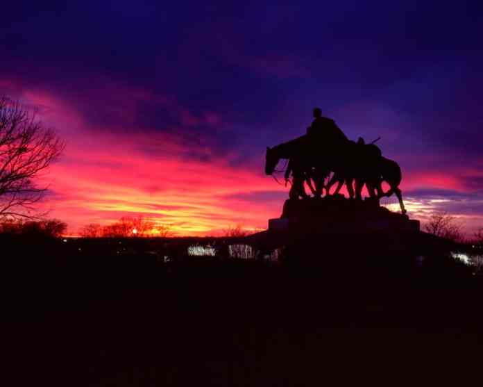 Pioneer mother memorial statue at Sunset. Fuji Velvia 100, 150mm.