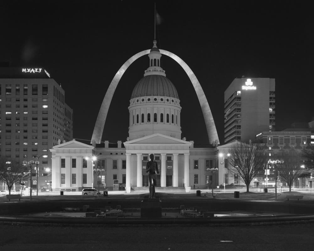 St Louis arch and old courthouse. St Louis, Mo - Tri-x 320 - 150mm lens