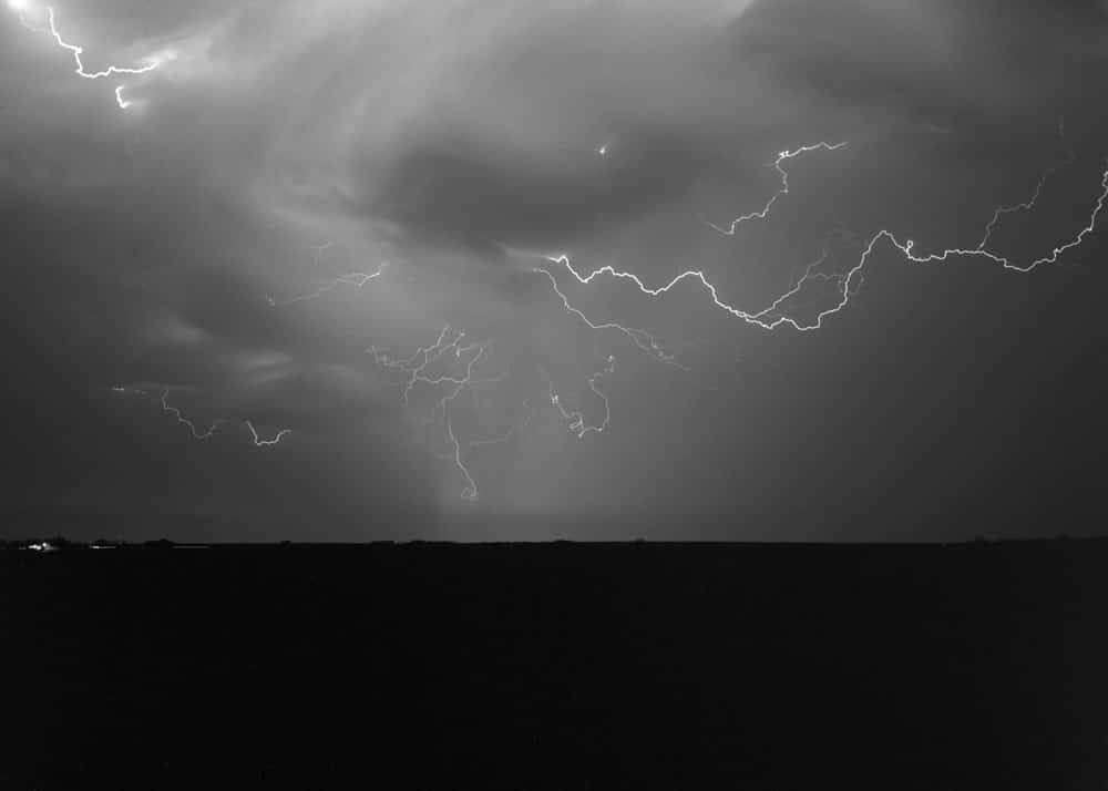 Cloud to cloud lightning from a severe storm in central Kansas. - Tri-x 320 - 150mm lens