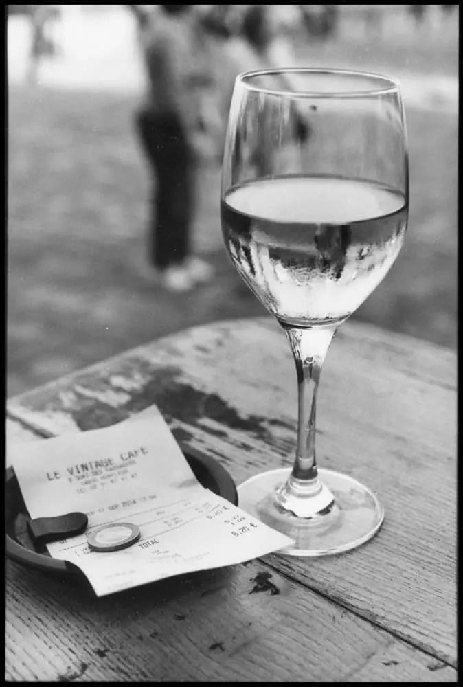 "Ilford HP5, Mamiya 6, 75mm lens, ""Le Vintage Café, Honfleur, 2014"""