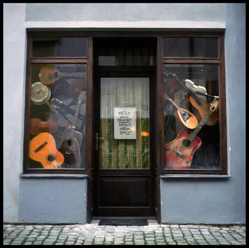 """""""The Music Store, Cesky Crumlov, Czech Republic"""" shot with a Yashica TLR, Fuji NPH 400"""