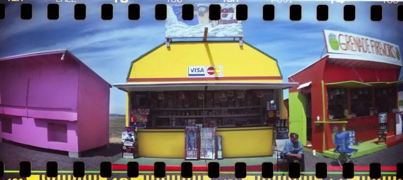 """Swinomish Fireworks' Selling Huts, With Sprockets,"" Sprocket Rocket camera, Fuji 100"