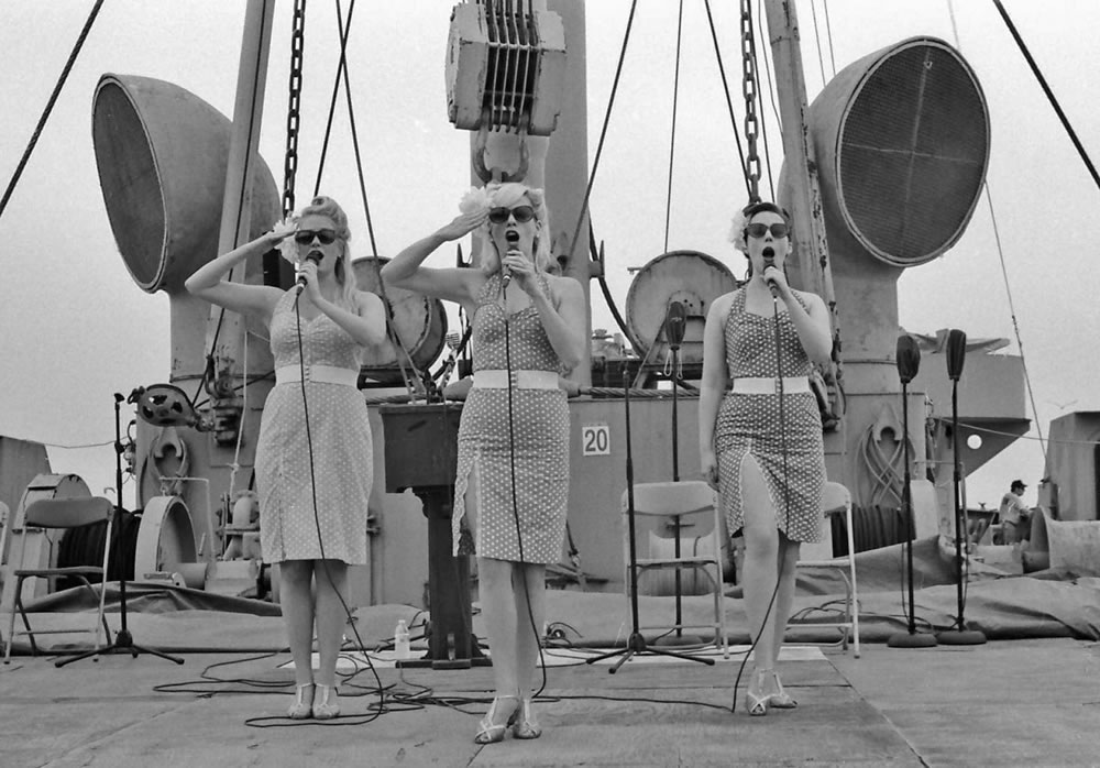 1940s singers on Liberty Ship John W. Brown, 5/15, Ilford HP5 in HC110 Dilution H