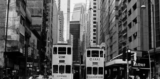 Twin trams - Fuji Acros 100 shot at EI 100. Black and white film in 120 format shot as 6x6.