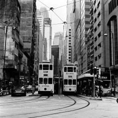 Twin trams - Fuji Acros 100 shot at EI 100. Black and white film in 120 format shot as 6x6.