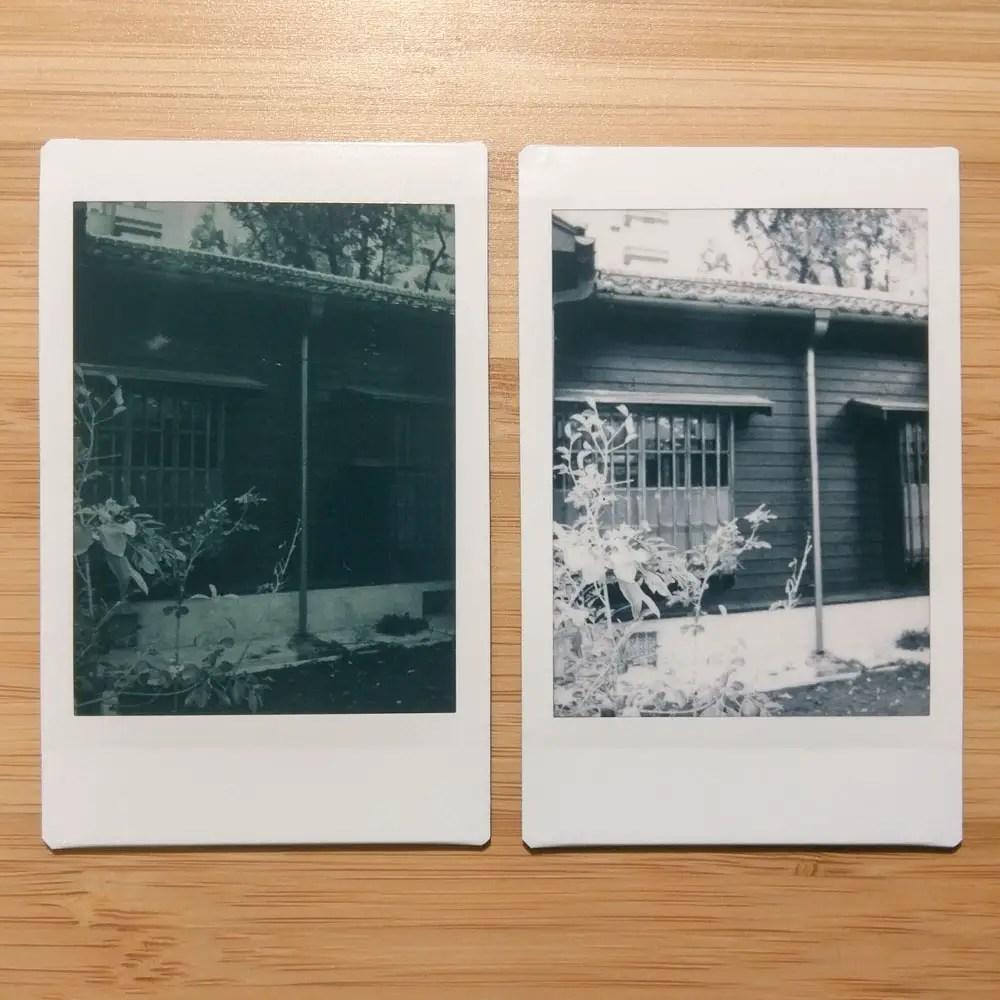 Instax Mini Monochrome - House 01 - Left: Orange #21 filter + L-Mode / Right: No filter