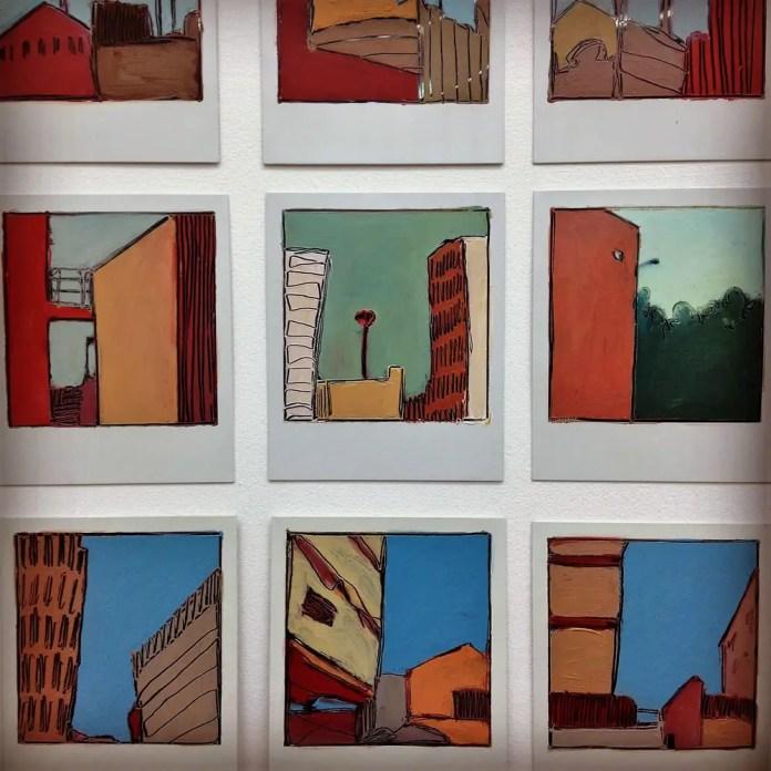 City Skies - Oil on Polaroids (mixed)