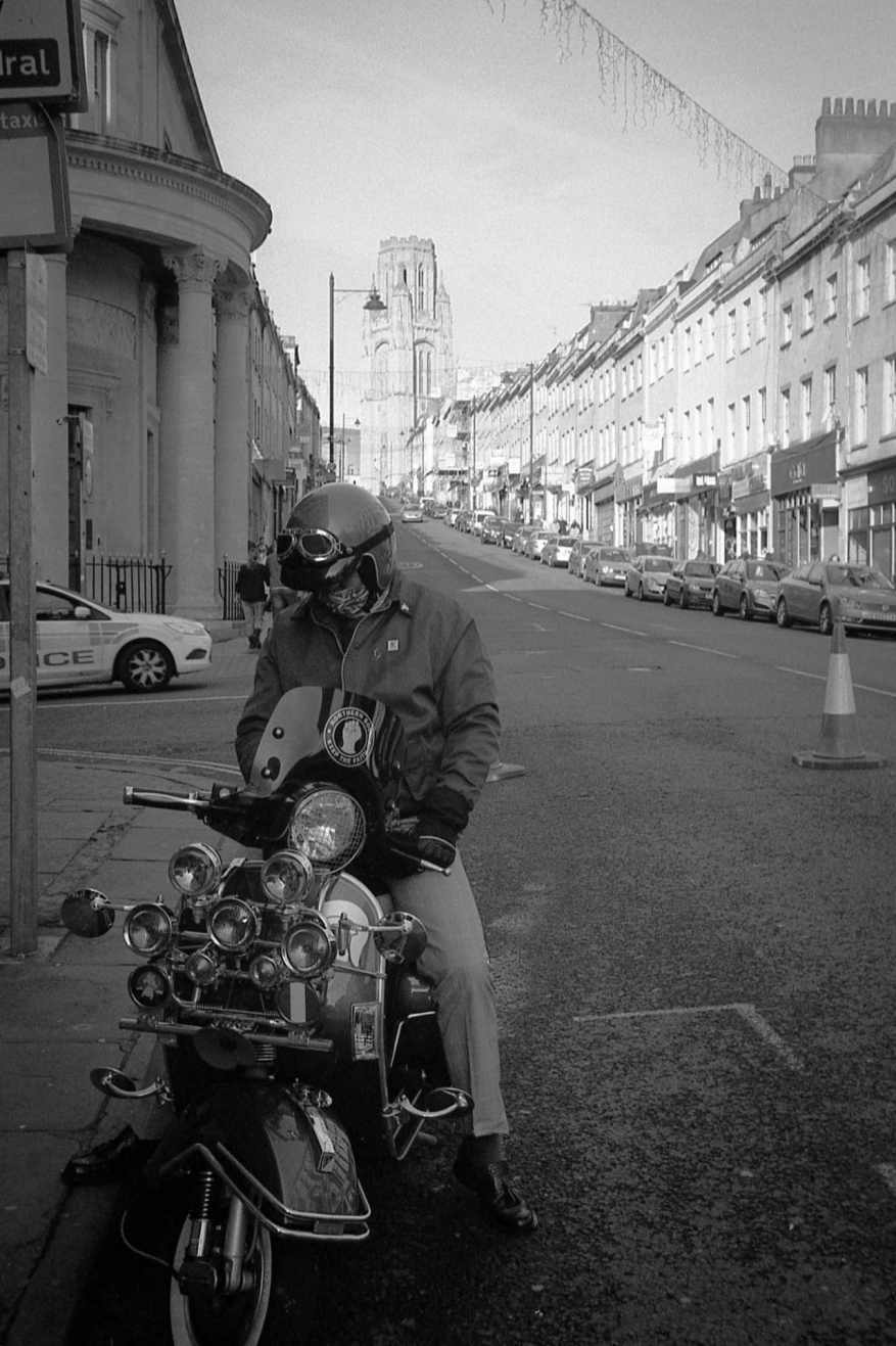 Barnaby Nutt - @BarnabyNutt - Ok, perhaps a couple more shots from November's @FP4Party. First up, a shy scooter bloke in Bristol #believeinfilm @ILFORDPhoto