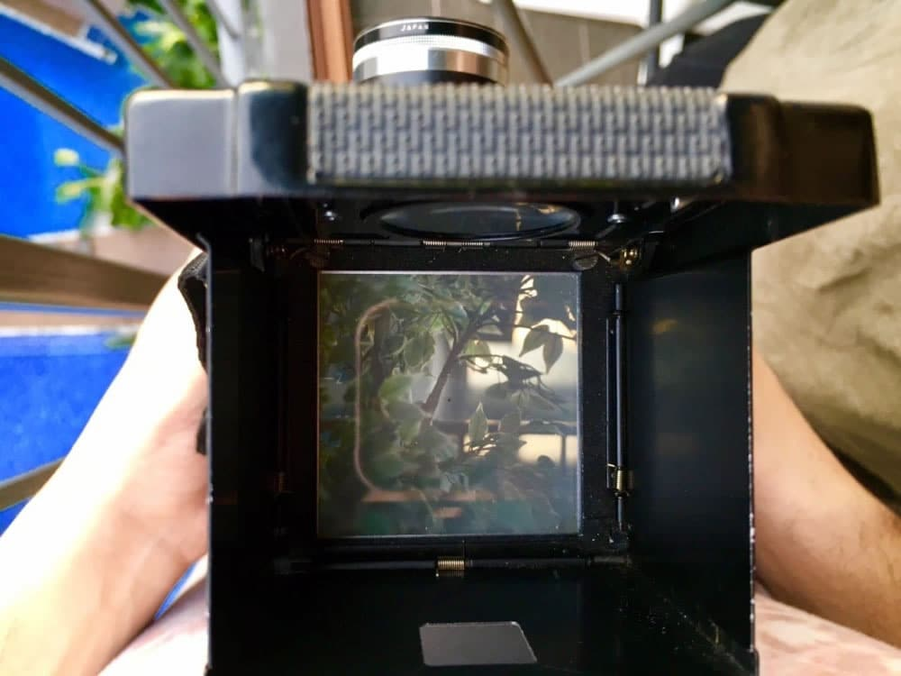 The viewfinder of the Mamiya C33