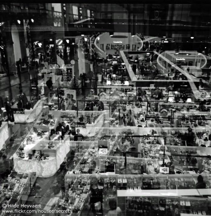Double exposure on the Stadsfeestzaal mall floor, Antwerp, Belgium -Agfa Click 1, Kodak T-MAX 100 film