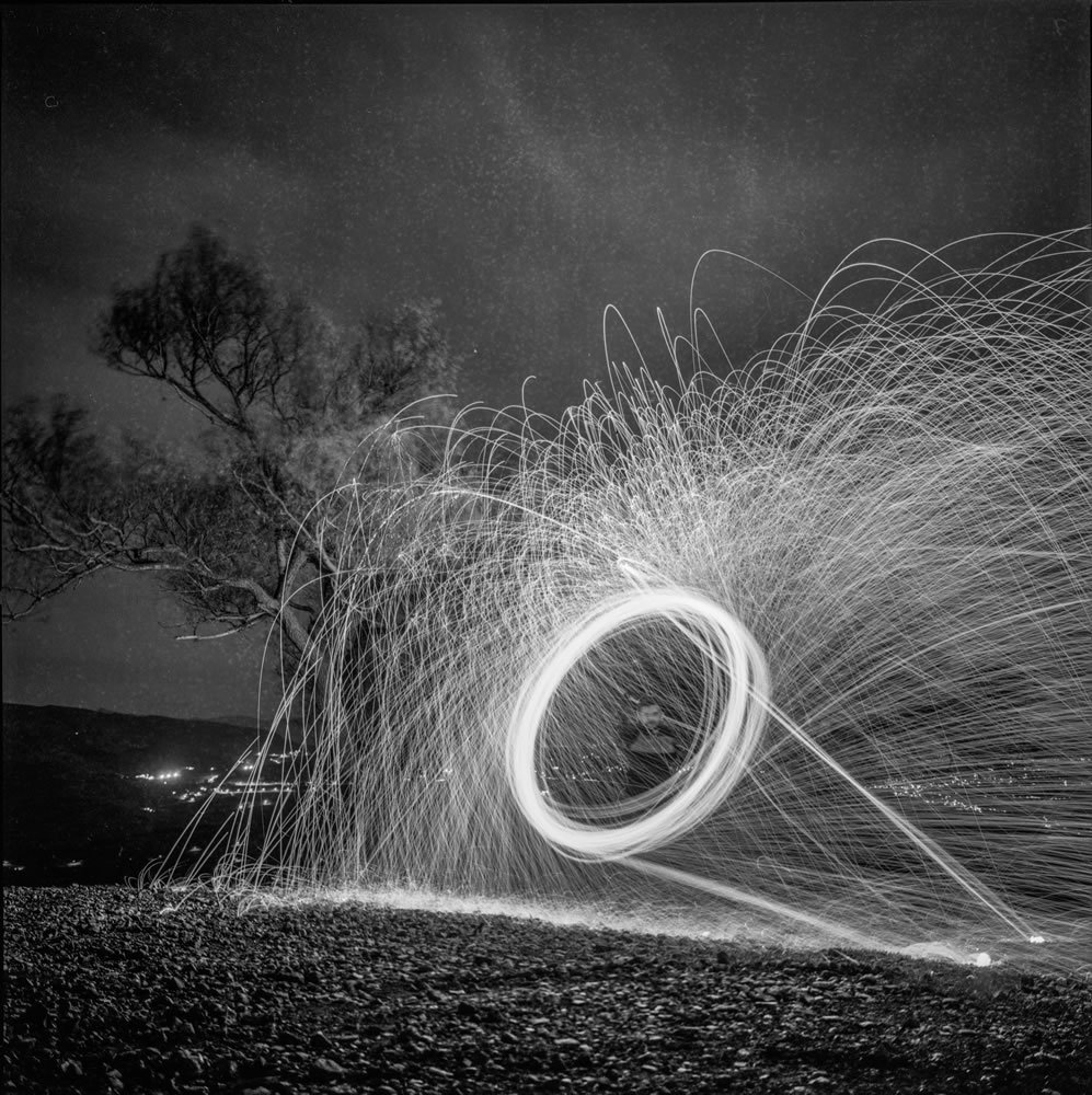 Steel wool spinning - Today's photography techniques in yesterday's camera - Hasselblad 500cm - Ilford FP4+