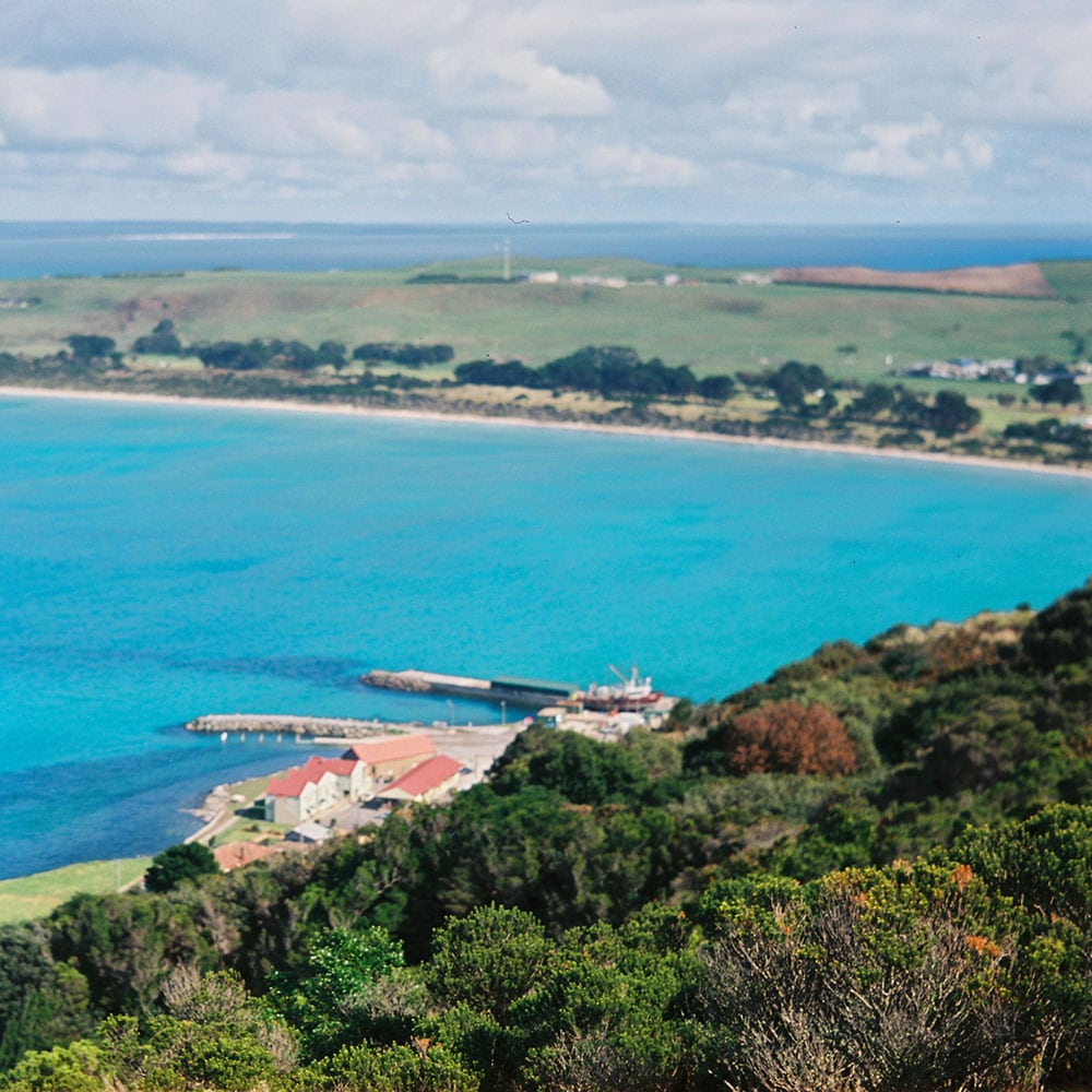 Tasmania Travelogue - The blue water and green landscapes of Stanley, as seen from The Nut.