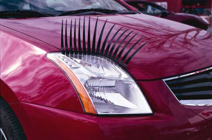 Eyelashes on car