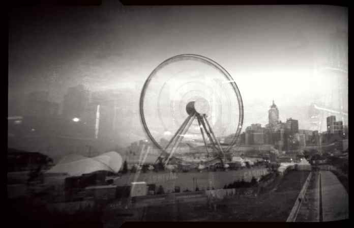 Hong Kong, central ferris wheel - ILFORD Pan F+ - Noon 612 pinhole camera at 6x9