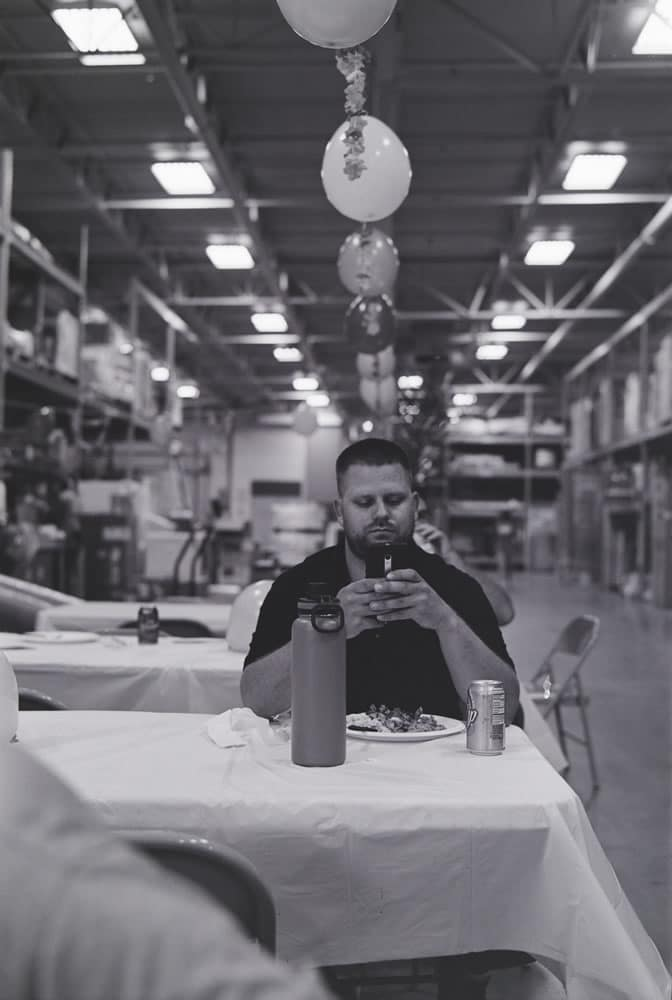 Warehouse Lunch, Mamiya Super 23, 100mm f/3.5, Kodak 400TX (EI 3200)