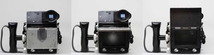 Mamiya Super 23 with focusing screen holder closed, locked half open, and fully open
