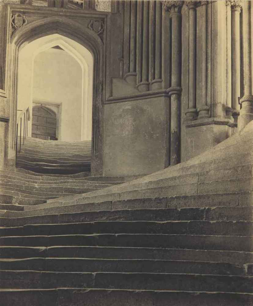 FREDERICK H. EVANS (1853-1943) 'A Sea of Steps', Wells Cathedral, Steps to Chapter House, 1903. Source: Christie's