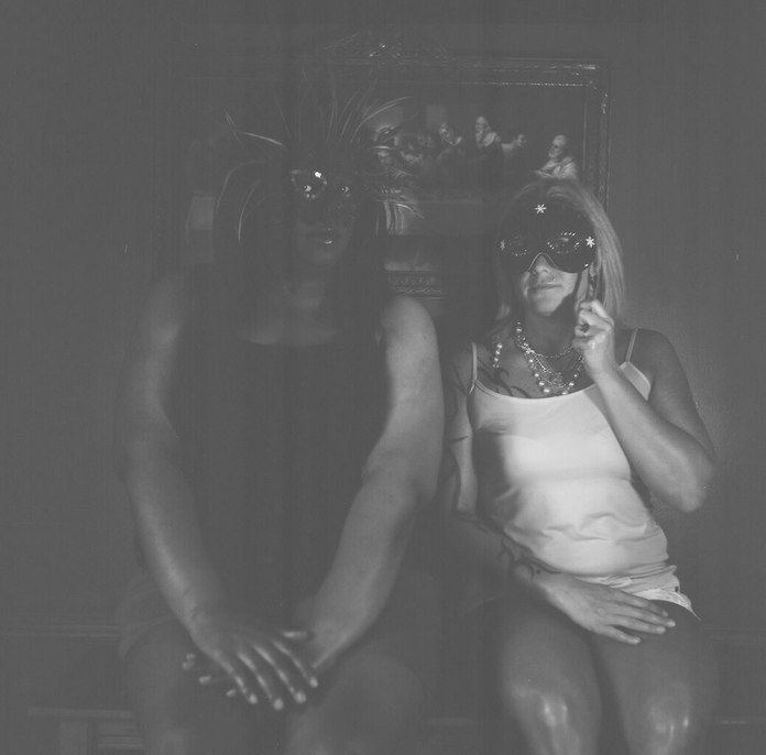 Meg and me in masks - Kodak T-MAX 100 - Yashica Mat LM - Wichita, KS